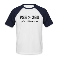 T-Shirts ~ Men's Baseball T-Shirt ~ PS3 greater than 360...