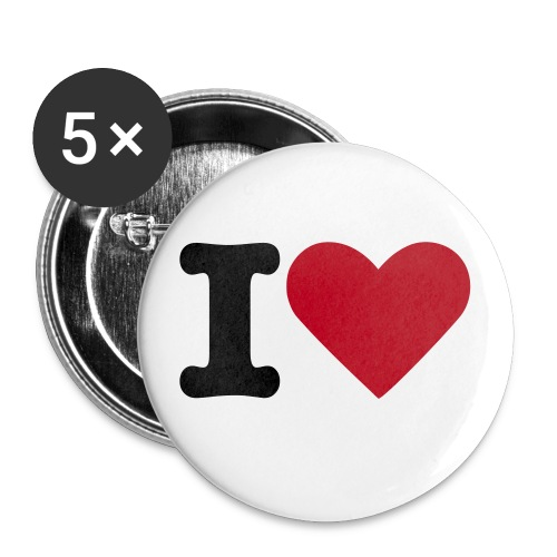 Buttons I love - Stor pin 56 mm (5-er pakke)