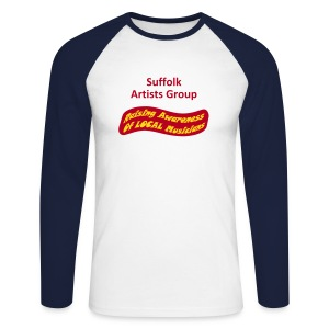 Suffolk Artists Group (White/Navy) - Men's Long Sleeve Baseball T-Shirt
