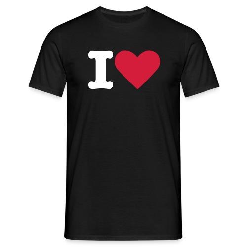 I love T-skjote med valgfri tekst - T-skjorte for menn
