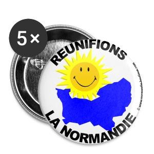 5 badges Réunifions la Normandie - Badge moyen 32 mm