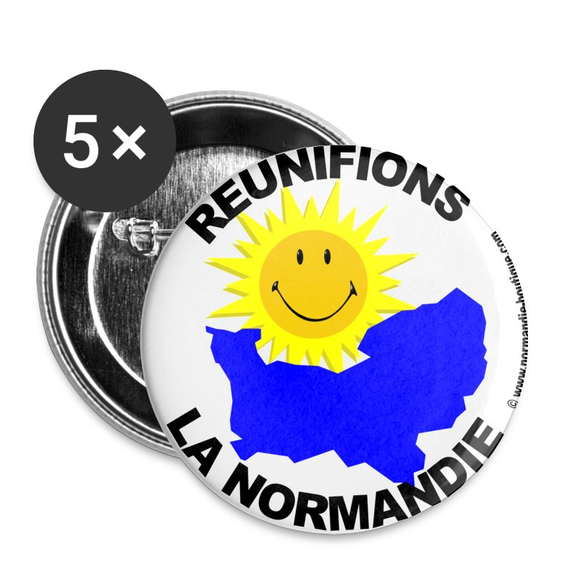 5 badges Réunifions la Normandie - Badge moyen 32 mm