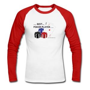 BEST POKER PLAYER - Long Sleeve - Red/White - Men's Long Sleeve Baseball T-Shirt