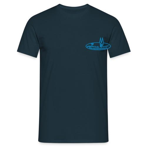 Männer T-Shirt - Navy, Flockdruck hellblau