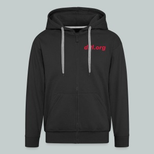 Zipped Hoodie, URL on breast, Logo on back - Men's Premium Hooded Jacket