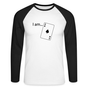 I am ACE - Flock Print - Long Sleeve - Men's Long Sleeve Baseball T-Shirt