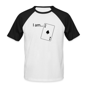 I am ACE - Flock Print - Black-White - Men's Baseball T-Shirt