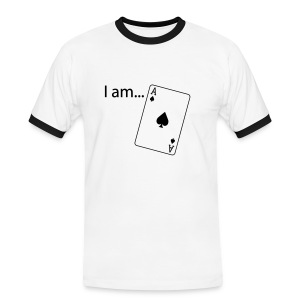 I am ACE - Black Print - Black-White - Men's Ringer Shirt