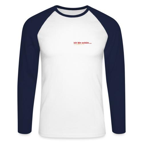 ich bin schön..., langarm, weiß-navy - Männer Baseballshirt langarm