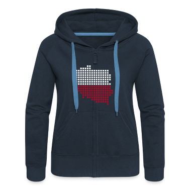 Navy Poland flag pixel map Ladies' Longsleeves