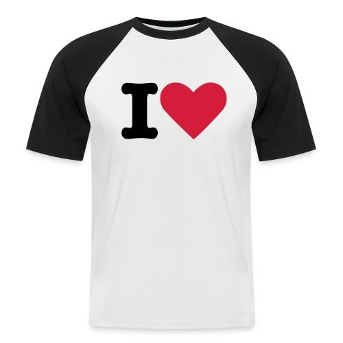 Promodoro Raglan Kortermet I Love t-shirt - Kortermet baseball skjorte for menn