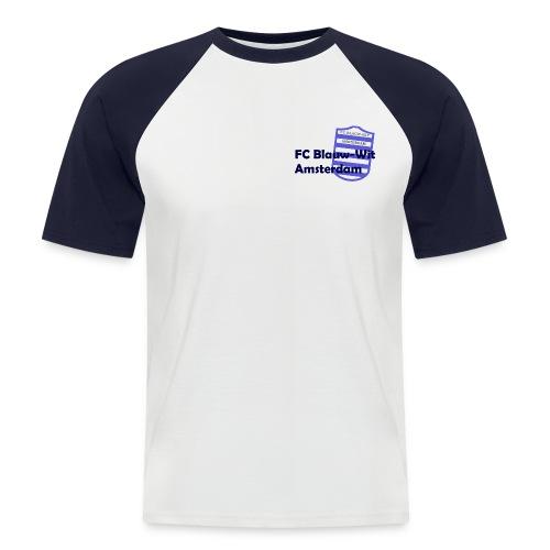 T-Shirt Blauw-Wit Amsterdam - Mannen baseballshirt korte mouw