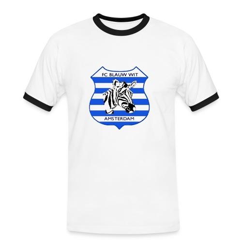 T-shirt Blauw-Wit - Mannen contrastshirt