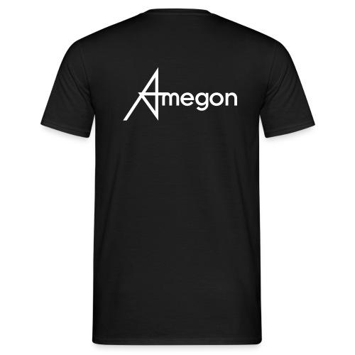 Männer T-Shirt - Vorne: Amegon Logo klein;  Hinten: Amegon Logo groß