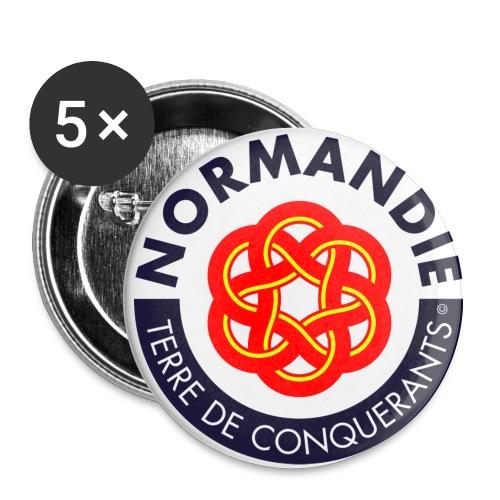5 badges Normandie T. de Conquérants - Lot de 5 moyens badges (32 mm)
