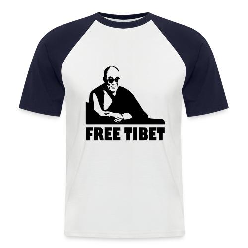 T-Shirt - Maglietta - Free Tibet - Dalai Lama - Maglia da baseball a manica corta da uomo