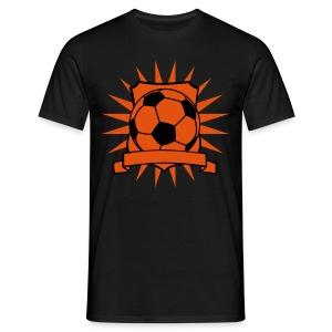 Voetbal Schild zonder naam, zwart en oranje flex - Mannen T-shirt