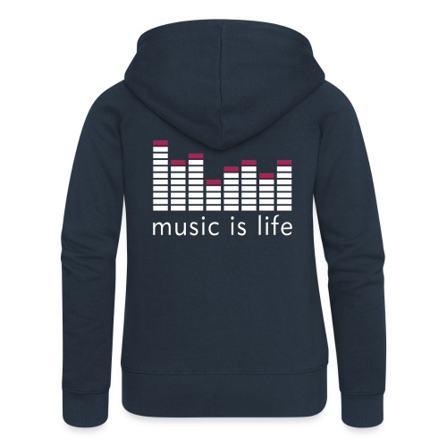 Blå Music Is Life Genser - Premium hettejakke for kvinner