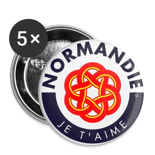 5 badges Normandie Je t'aime - Lot de 5 moyens badges (32 mm)