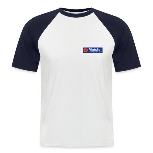 Meister T-Shirt mit eigenem Text auf der Rückseite. - Männer Baseball-T-Shirt