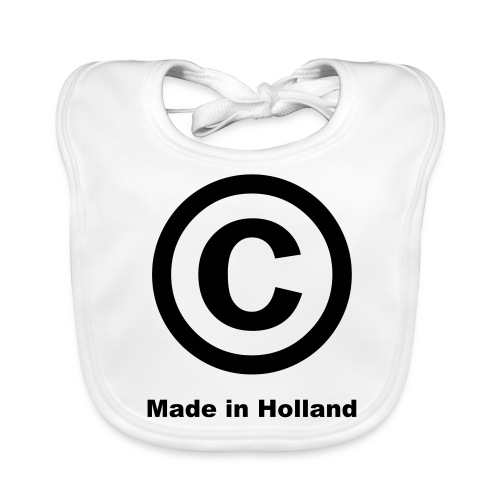 'C Made In Holland' Baby Bib (White)  - Baby Organic Bib