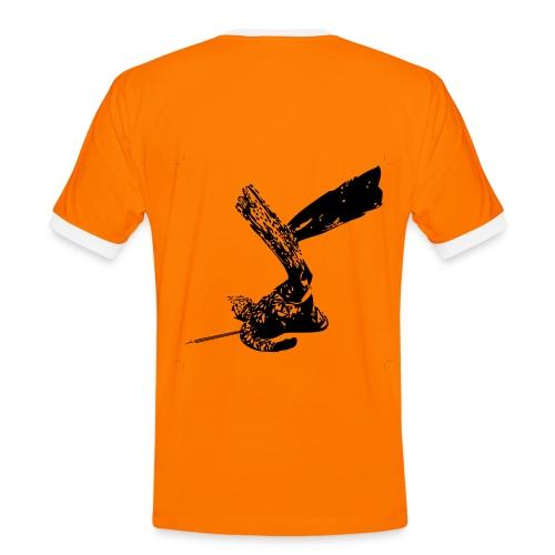 Girocollo  corte arancione e nera - Maglietta Contrast da uomo