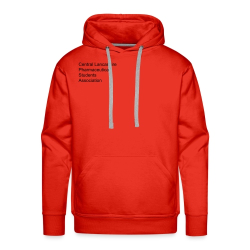 Over, under and behind the counter on red - Men's Premium Hoodie