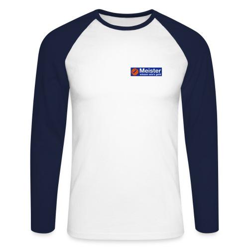 Meister Baseballshirt mit eigenem Text auf der Rückseite. - Männer Baseballshirt langarm