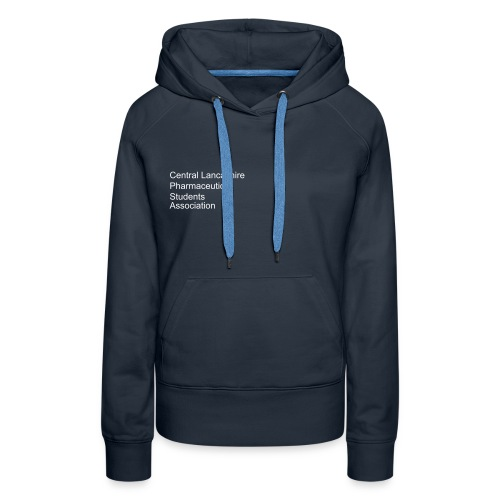 Over, under and behind the counter on Navy (Female) - Women's Premium Hoodie