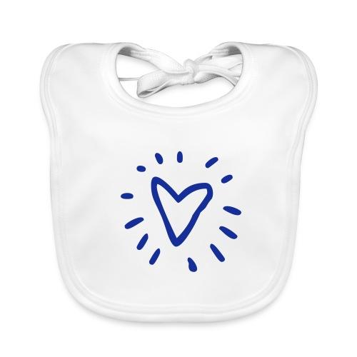Slabbetje Blauw hart glitter - Bio-slabbetje voor baby's