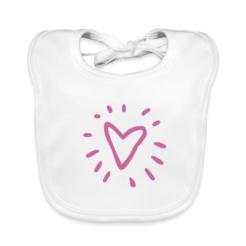 Slabbetje Roze hart glitter - Bio-slabbetje voor baby's