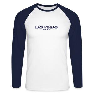 Langarm-Shirt LAS VEGAS, NEVADA weiß/navy - Männer Baseballshirt langarm