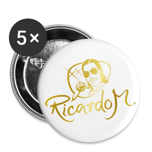 Fünf RICARDO M.-Anstecker, groß, in der GOLD-Edition - Buttons groß 56 mm (5er Pack)