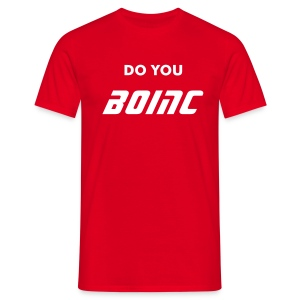 BOINC Red Basic Tee (do you BOINC front; web address back) - Men's T-Shirt