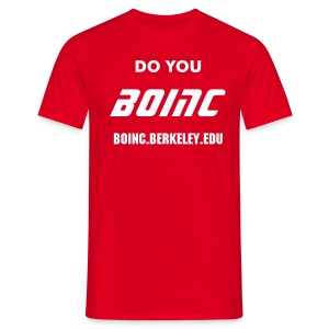 BOINC Red Basic Tee (do you BOINC, web address front) - Men's T-Shirt