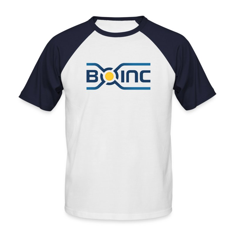 BOINC White/Blue Tee (logo front, web address back; more colors!) - Men's Baseball T-Shirt