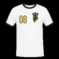 T-Shirts ~ Männer Kontrast-T-Shirt ~ FUßBALLKAISER 08 (Gold-Schwarz)