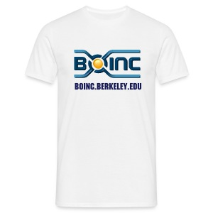 BOINC White Basic Tee (3D logo, web address front) - Men's T-Shirt