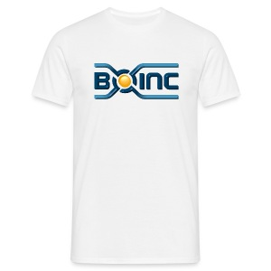 BOINC White/Blue Tee (3D logo front, web address back) - Men's T-Shirt