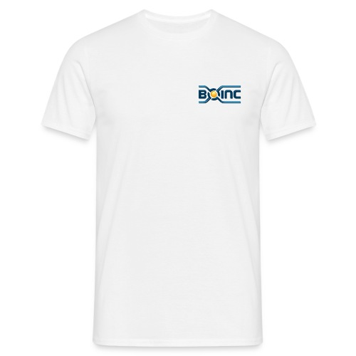 BOINC White Basic Tee (3D logo chest, small) - Men's T-Shirt