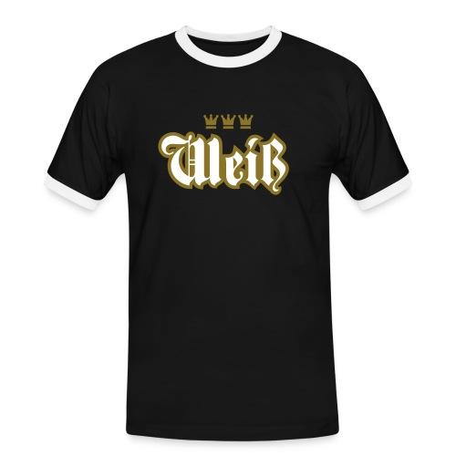 Weiss (Frakturschrift) - Männer Kontrast-T-Shirt