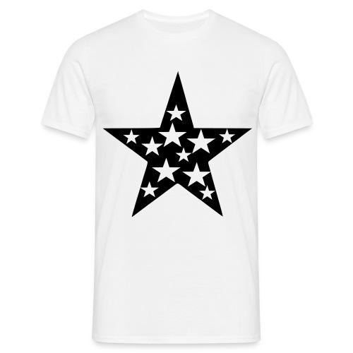 Basic White Tshirt, black & white star - Men's T-Shirt