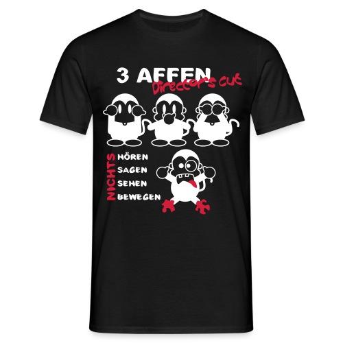 3 Affen Director's Cut - white/black shirt - Männer T-Shirt