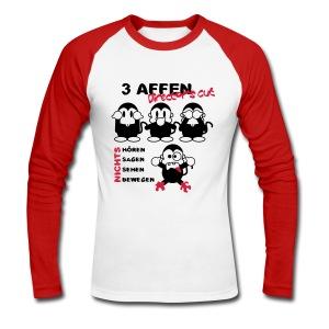 3 Affen Director's Cut - black/redwhite longsleeve - Männer Baseballshirt langarm