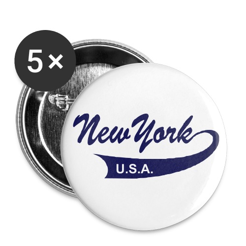 Button NEW YORK USA 5er Pack, 56 mm - Buttons groß 56 mm