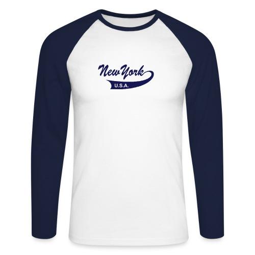 Langarm-Shirt NEW YORK USA weiß/navy - Männer Baseballshirt langarm