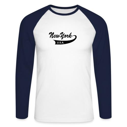 Langarm-Shirt NEW YORK USA sand/charcoal - Männer Baseballshirt langarm