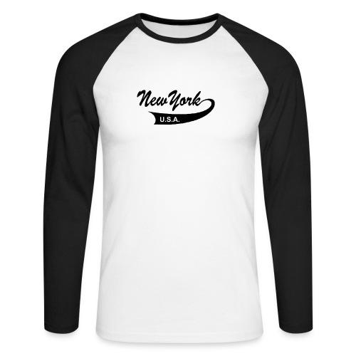Langarm-Shirt NEW YORK USA weiß/schwarz - Männer Baseballshirt langarm