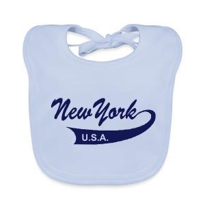 Babylätzchen NEW YORK USA sky blue - Baby Bio-Lätzchen