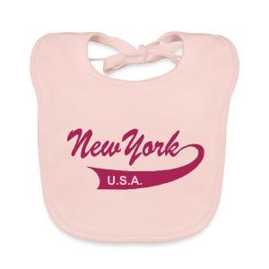 Babylätzchen NEW YORK USA rose - Baby Bio-Lätzchen